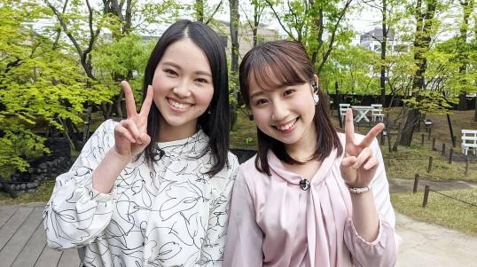 佐藤伊音アナと平井侑貴アナの身長比較