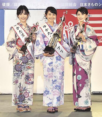 ゆかたグランプリで準グランプリを獲得した中條加菜アナ