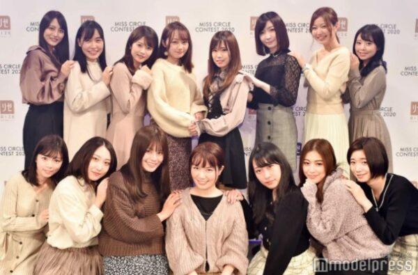 「ミスサークルコンテスト2020」でファイナリストに選出された奥野粋子アナ上段左から3番目
