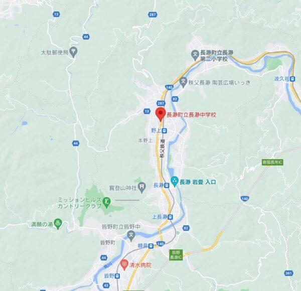 長瀞中学校のgoogleマップ