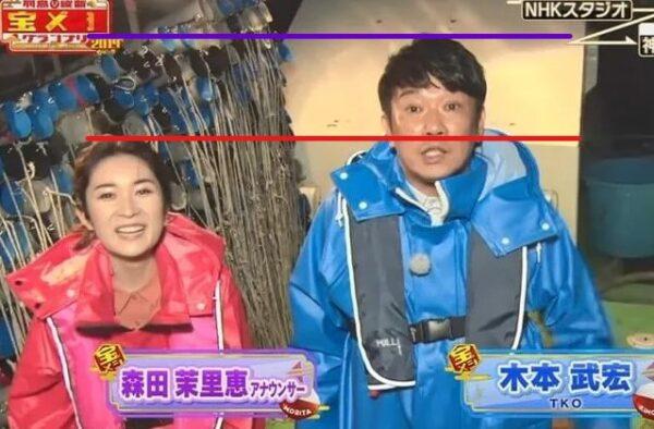 森田茉里恵アナの身長をTKO木本と比較して検証