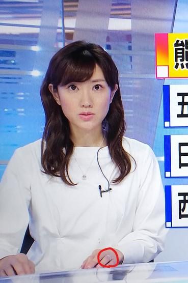 BSニュースで左手の薬指に指輪(リング)を着けて出演する徳田琴美アナ