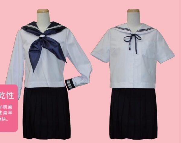 木下瑠音アナの出身中学、富山大学人間発達科学部附属中学校の夏服のセーラー服